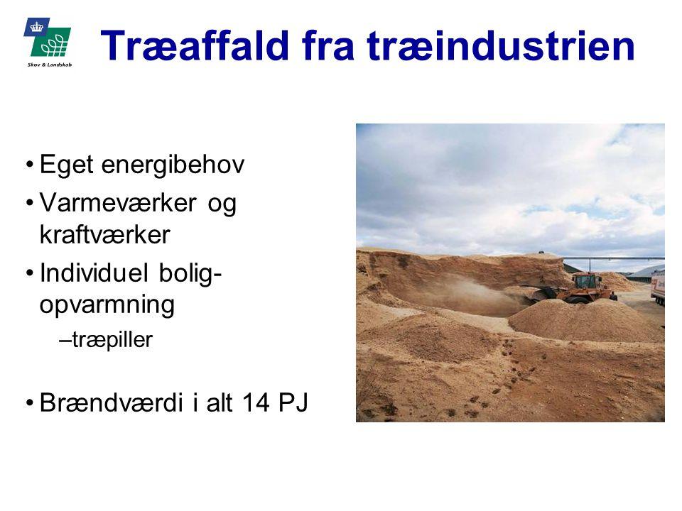 Træaffald fra træindustrien Eget energibehov Varmeværker og kraftværker Individuel bolig- opvarmning –træpiller Brændværdi i alt 14 PJ
