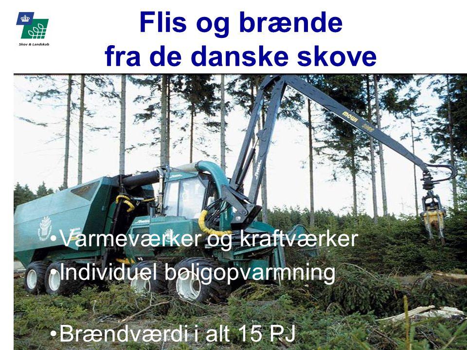 Flis og brænde fra de danske skove Varmeværker og kraftværker Individuel boligopvarmning Brændværdi i alt 15 PJ