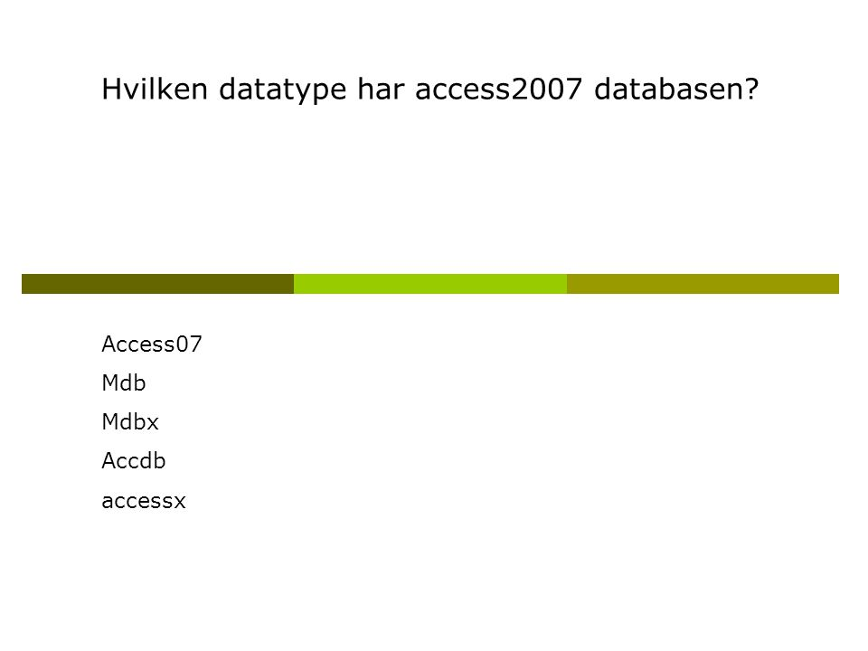 Hvilken datatype har access2007 databasen Access07 Mdb Mdbx Accdb accessx