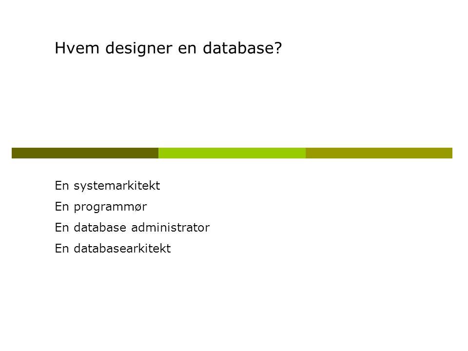 Hvem designer en database.