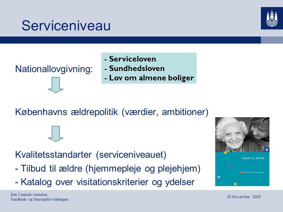 Den Centrale visitation Sundheds- og Omsorgsforvaltningen 25.November 2009 Serviceniveau Nationallovgivning: Københavns ældrepolitik (værdier, ambitio