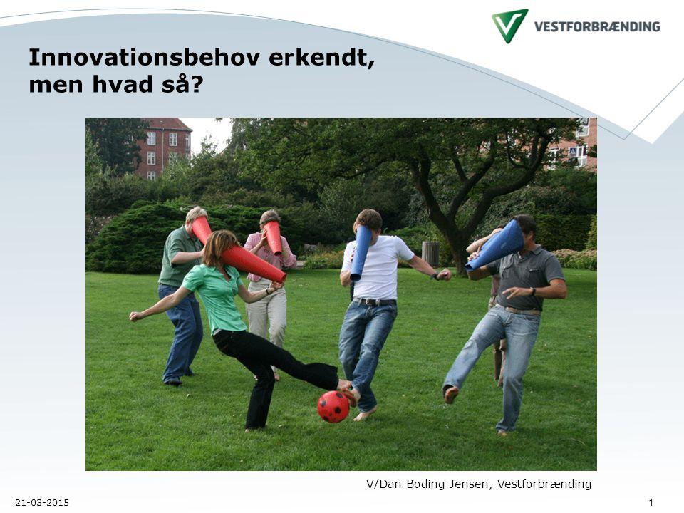 21-03-2015 1 Innovationsbehov erkendt, men hvad så V/Dan Boding-Jensen, Vestforbrænding