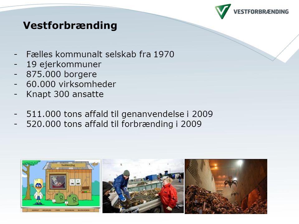 Vestforbrænding - Fælles kommunalt selskab fra 1970 - 19 ejerkommuner - 875.000 borgere - 60.000 virksomheder - Knapt 300 ansatte - 511.000 tons affald til genanvendelse i 2009 - 520.000 tons affald til forbrænding i 2009