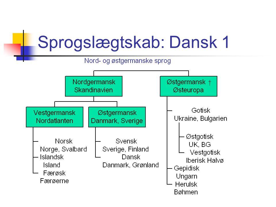 Sprogslægtskab: Dansk 1
