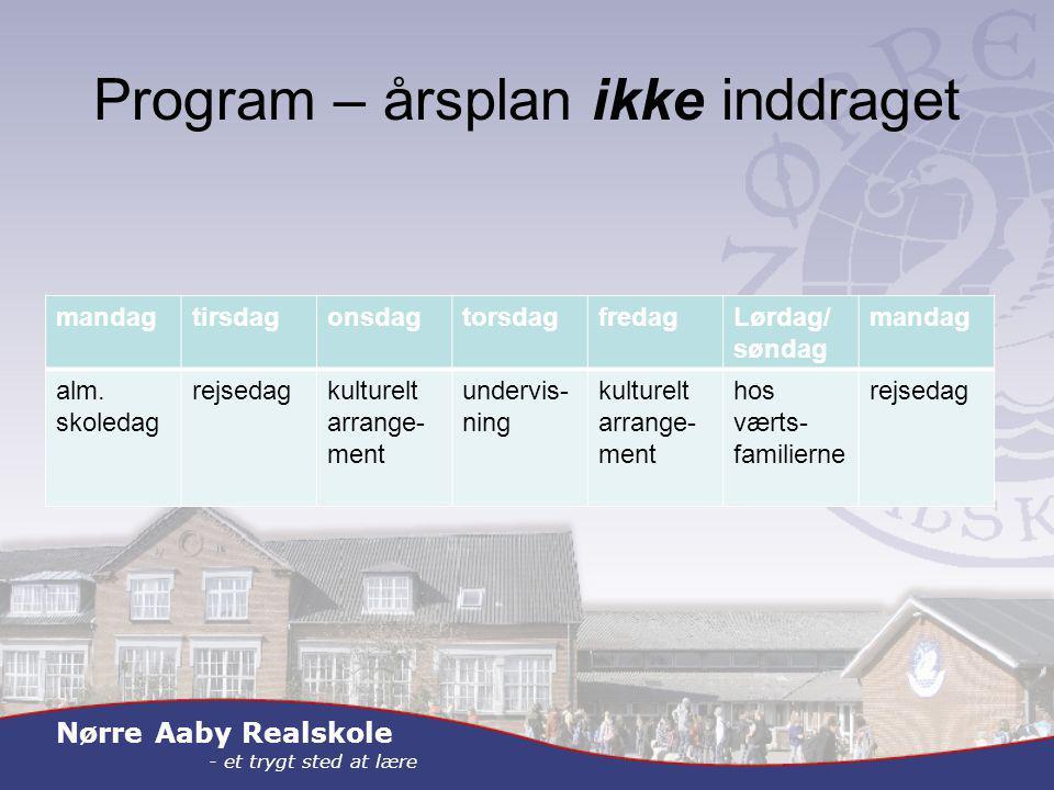 Nørre Aaby Realskole - et trygt sted at lære Program – årsplan ikke inddraget mandagtirsdagonsdagtorsdagfredagLørdag/ søndag mandag alm.