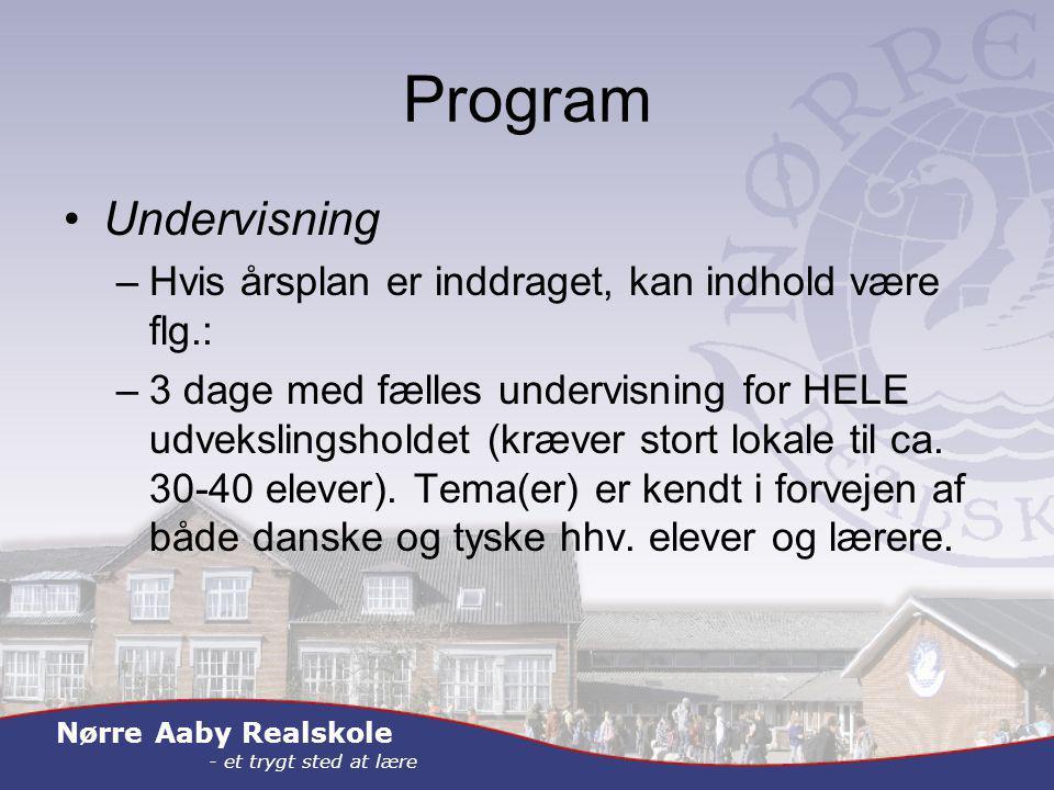 Nørre Aaby Realskole - et trygt sted at lære Program Undervisning –Hvis årsplan er inddraget, kan indhold være flg.: –3 dage med fælles undervisning for HELE udvekslingsholdet (kræver stort lokale til ca.