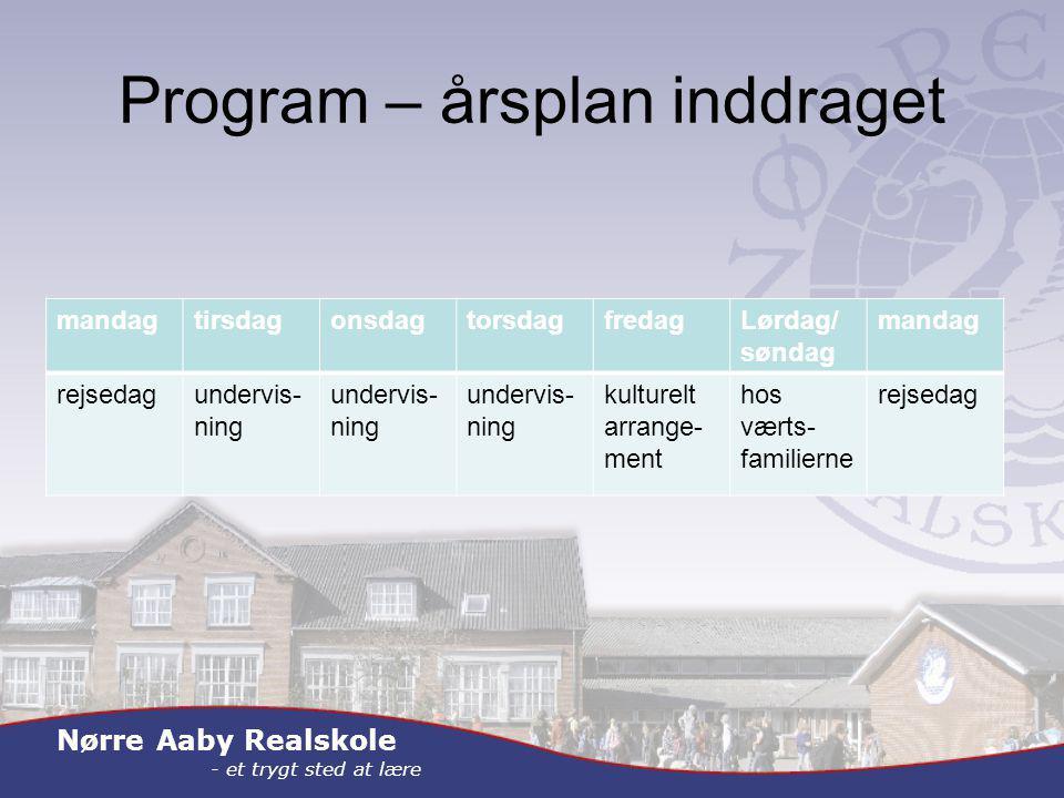 Nørre Aaby Realskole - et trygt sted at lære Program – årsplan inddraget mandagtirsdagonsdagtorsdagfredagLørdag/ søndag mandag rejsedagundervis- ning kulturelt arrange- ment hos værts- familierne rejsedag
