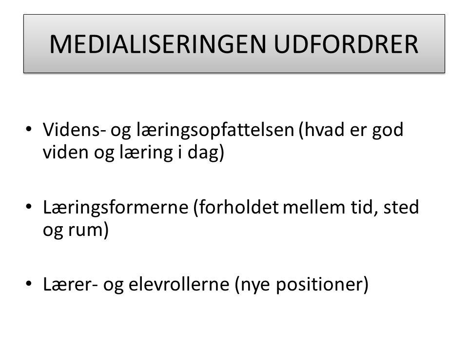 MEDIALISERINGEN UDFORDRER Videns- og læringsopfattelsen (hvad er god viden og læring i dag) Læringsformerne (forholdet mellem tid, sted og rum) Lærer- og elevrollerne (nye positioner)