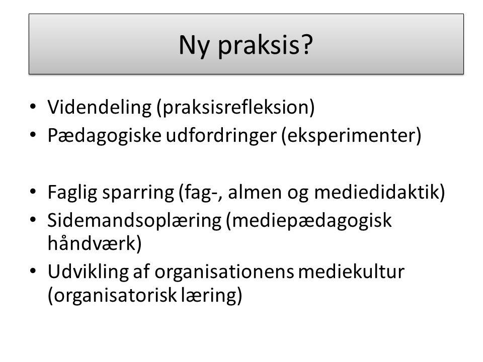 Mediecentret som funktion Videndeling (praksisrefleksion) Pædagogiske udfordringer (eksperimenter) Faglig sparring (fag-, almen og mediedidaktik) Sidemandsoplæring (mediepædagogisk håndværk) Udvikling af organisationens mediekultur (organisatorisk læring) Ny praksis