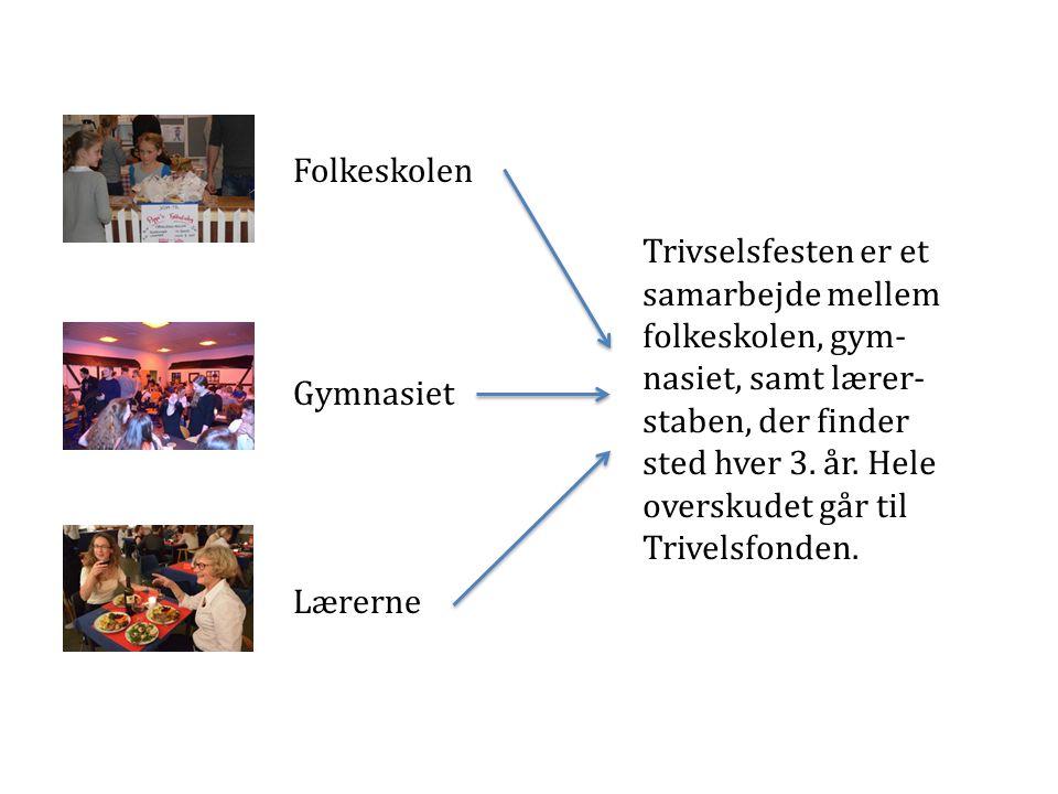 Folkeskolen Gymnasiet Lærerne Trivselsfesten er et samarbejde mellem folkeskolen, gym- nasiet, samt lærer- staben, der finder sted hver 3.