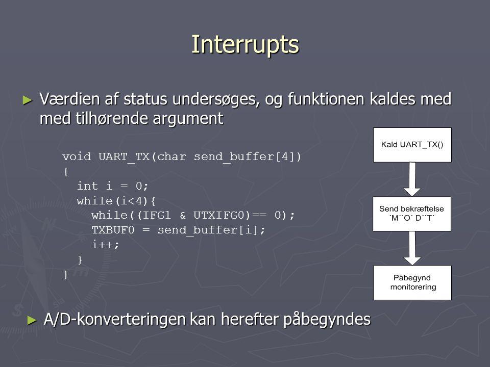 Interrupts ► Værdien af status undersøges, og funktionen kaldes med med tilhørende argument ► A/D-konverteringen kan herefter påbegyndes void UART_TX(char send_buffer[4]) { int i = 0; while(i<4){ while((IFG1 & UTXIFG0)== 0); TXBUF0 = send_buffer[i]; i++; }