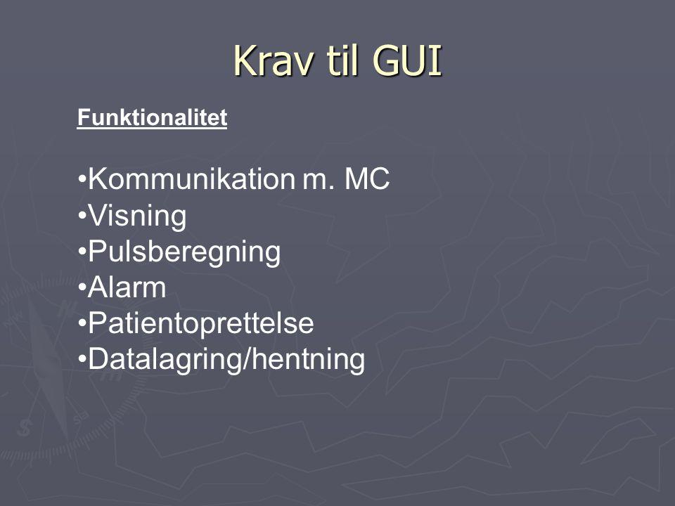 Krav til GUI Funktionalitet Kommunikation m.