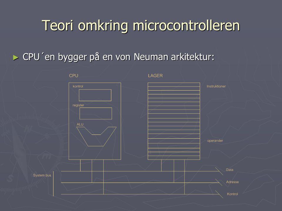 Teori omkring microcontrolleren ► CPU´en bygger på en von Neuman arkitektur: