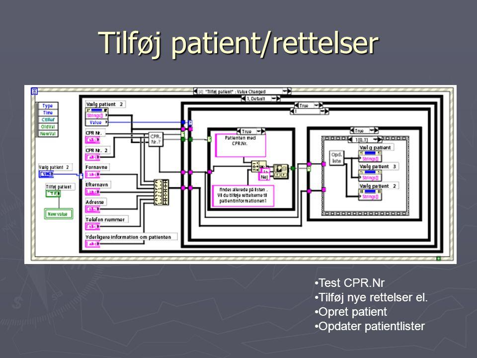 Tilføj patient/rettelser Test CPR.Nr Tilføj nye rettelser el. Opret patient Opdater patientlister