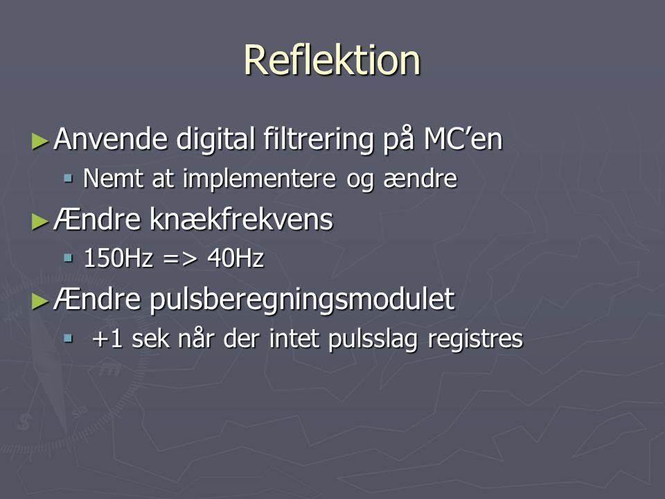 Reflektion ► Anvende digital filtrering på MC'en  Nemt at implementere og ændre ► Ændre knækfrekvens  150Hz => 40Hz ► Ændre pulsberegningsmodulet  +1 sek når der intet pulsslag registres