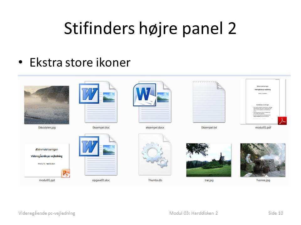 Stifinders højre panel 2 Ekstra store ikoner Videregående pc-vejledningModul 03: Harddisken 2Side 10