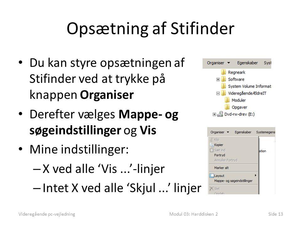 Opsætning af Stifinder Du kan styre opsætningen af Stifinder ved at trykke på knappen Organiser Derefter vælges Mappe- og søgeindstillinger og Vis Mine indstillinger: – X ved alle 'Vis...'-linjer – Intet X ved alle 'Skjul...' linjer Videregående pc-vejledningModul 03: Harddisken 2Side 13