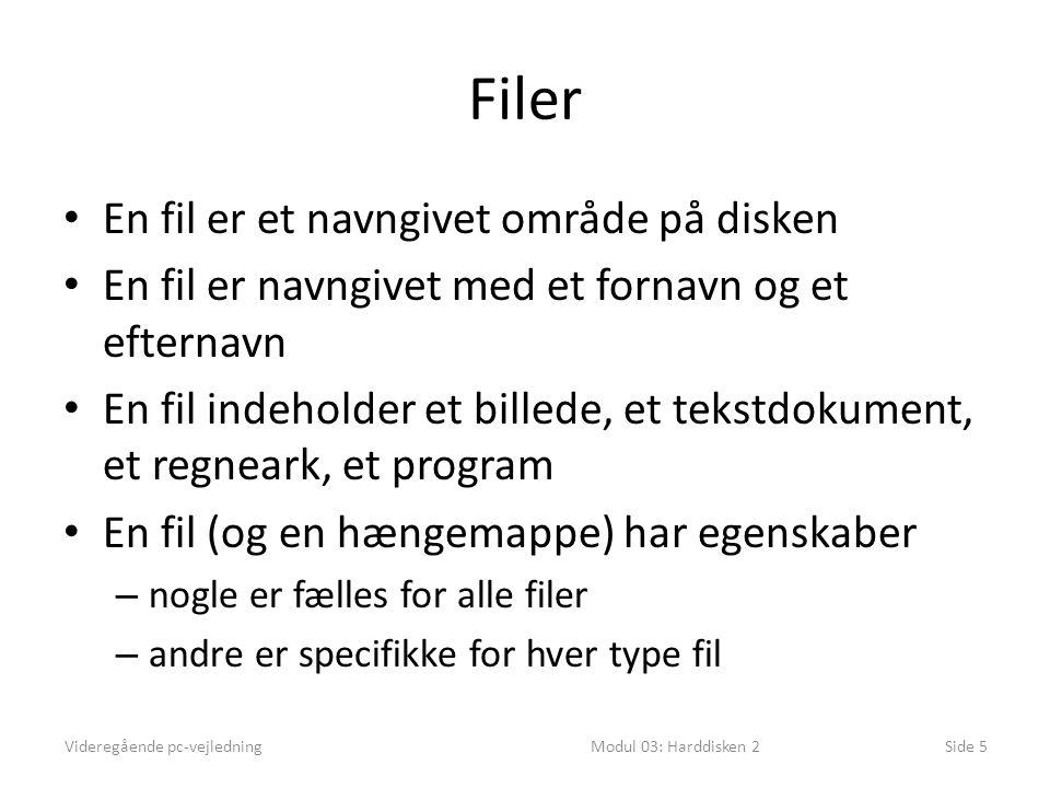 Filer En fil er et navngivet område på disken En fil er navngivet med et fornavn og et efternavn En fil indeholder et billede, et tekstdokument, et regneark, et program En fil (og en hængemappe) har egenskaber – nogle er fælles for alle filer – andre er specifikke for hver type fil Videregående pc-vejledningModul 03: Harddisken 2Side 5
