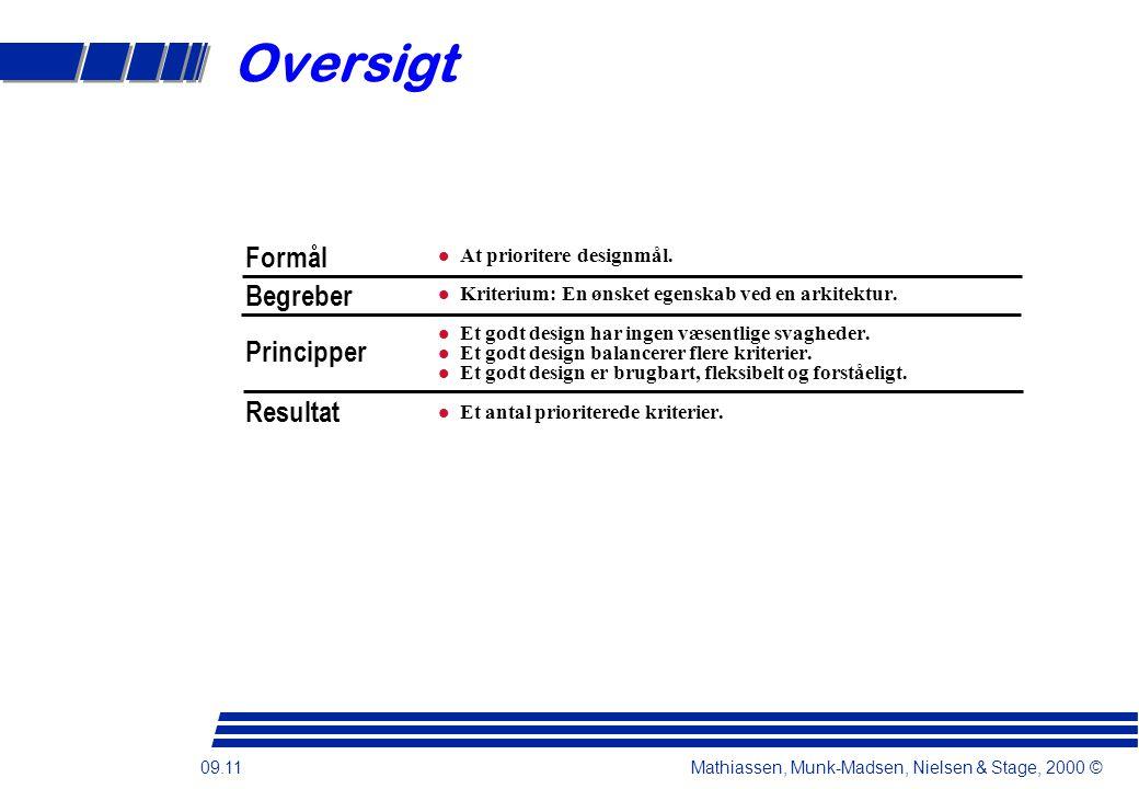 09.11 Mathiassen, Munk-Madsen, Nielsen & Stage, 2000 © Oversigt At prioritere designmål.