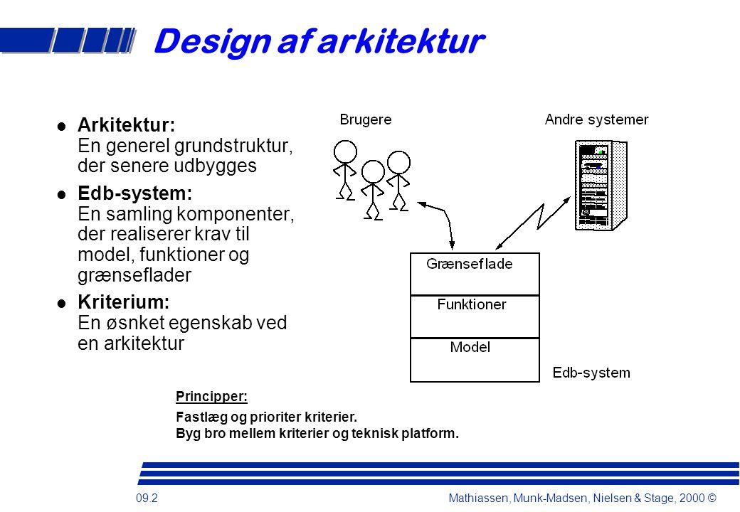 09.2 Mathiassen, Munk-Madsen, Nielsen & Stage, 2000 © Design af arkitektur l Arkitektur: En generel grundstruktur, der senere udbygges l Edb-system: En samling komponenter, der realiserer krav til model, funktioner og grænseflader l Kriterium: En øsnket egenskab ved en arkitektur Principper: Fastlæg og prioriter kriterier.
