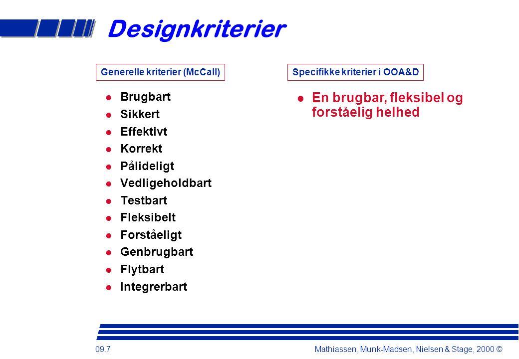 09.7 Mathiassen, Munk-Madsen, Nielsen & Stage, 2000 © Designkriterier Brugbart Sikkert Effektivt Korrekt Pålideligt Vedligeholdbart Testbart Fleksibelt Forståeligt Genbrugbart Flytbart Integrerbart En brugbar, fleksibel og forståelig helhed Generelle kriterier (McCall)Specifikke kriterier i OOA&D