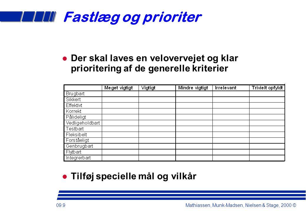 09.9 Mathiassen, Munk-Madsen, Nielsen & Stage, 2000 © Fastlæg og prioriter Der skal laves en velovervejet og klar prioritering af de generelle kriterier Tilføj specielle mål og vilkår
