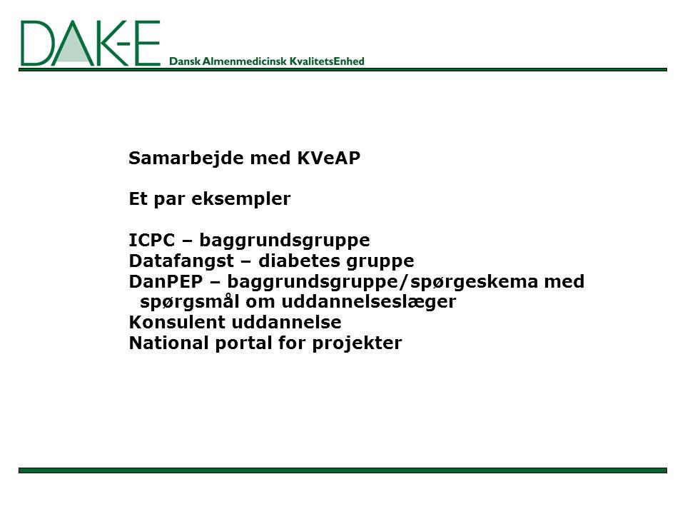 Samarbejde med KVeAP Et par eksempler ICPC – baggrundsgruppe Datafangst – diabetes gruppe DanPEP – baggrundsgruppe/spørgeskema med spørgsmål om uddannelseslæger Konsulent uddannelse National portal for projekter