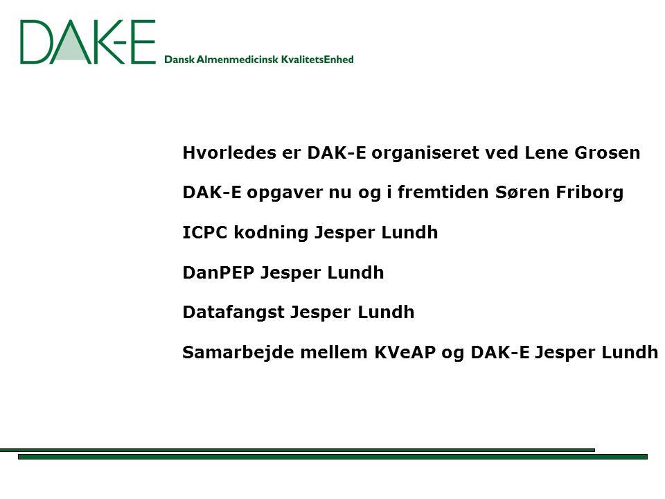Hvorledes er DAK-E organiseret ved Lene Grosen DAK-E opgaver nu og i fremtiden Søren Friborg ICPC kodning Jesper Lundh DanPEP Jesper Lundh Datafangst Jesper Lundh Samarbejde mellem KVeAP og DAK-E Jesper Lundh