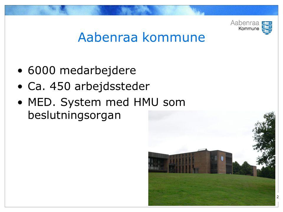 2 Aabenraa kommune 6000 medarbejdere Ca. 450 arbejdssteder MED. System med HMU som beslutningsorgan