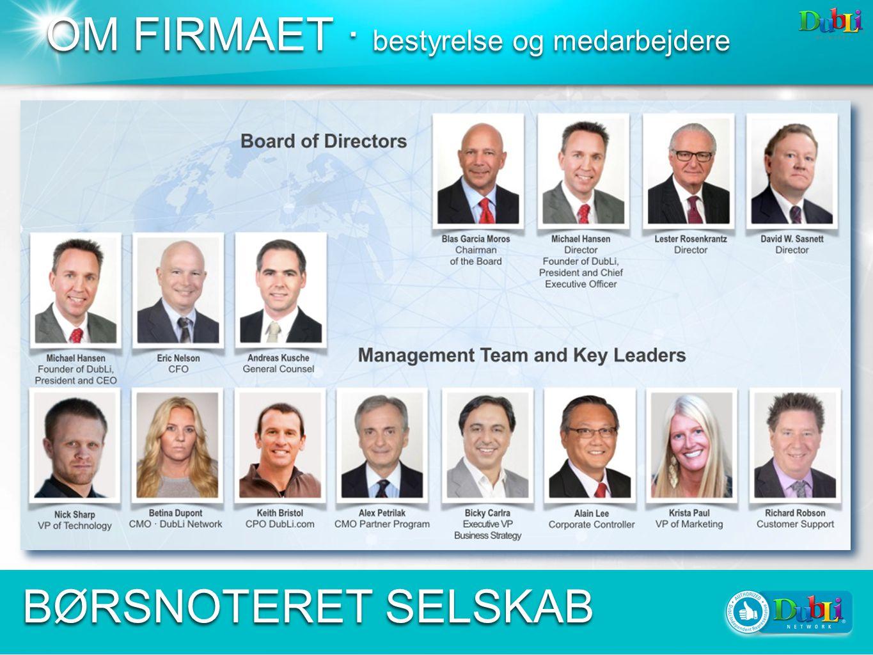 OM FIRMAET · bestyrelse og medarbejdere BØRSNOTERET SELSKAB