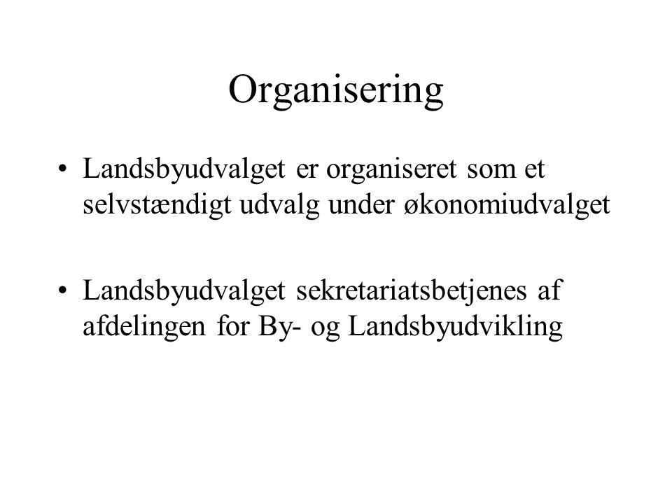 Organisering Landsbyudvalget er organiseret som et selvstændigt udvalg under økonomiudvalget Landsbyudvalget sekretariatsbetjenes af afdelingen for By- og Landsbyudvikling