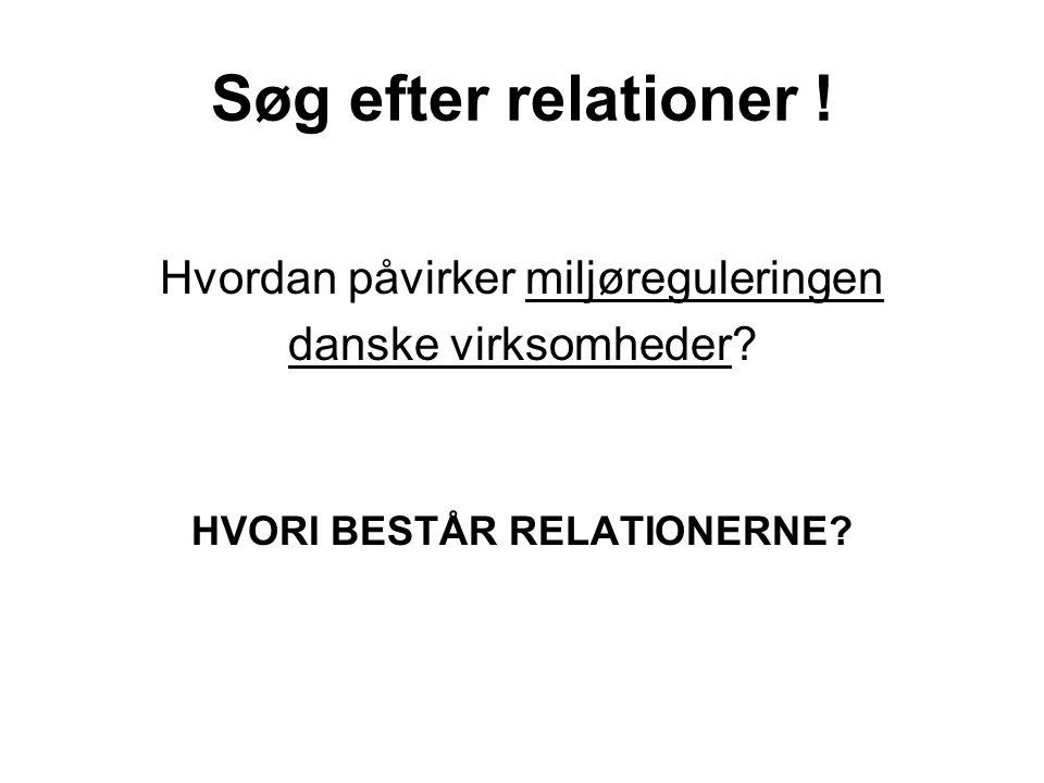 Søg efter relationer ! Hvordan påvirker miljøreguleringen danske virksomheder? HVORI BESTÅR RELATIONERNE?