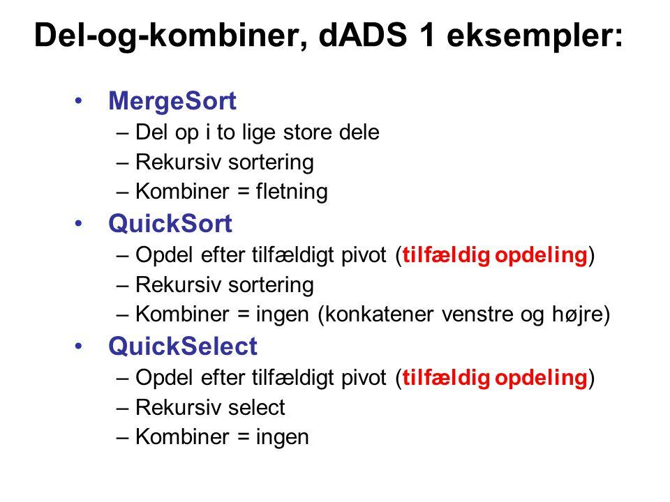 Del-og-kombiner, dADS 1 eksempler: MergeSort – Del op i to lige store dele – Rekursiv sortering – Kombiner = fletning QuickSort – Opdel efter tilfældigt pivot (tilfældig opdeling) – Rekursiv sortering – Kombiner = ingen (konkatener venstre og højre) QuickSelect – Opdel efter tilfældigt pivot (tilfældig opdeling) – Rekursiv select – Kombiner = ingen