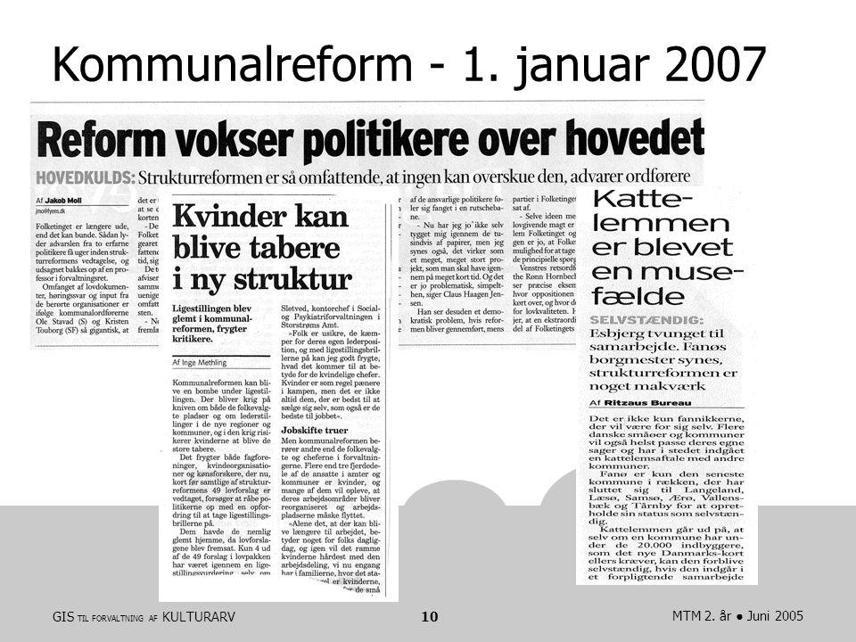 GIS TIL FORVALTNING AF KULTURARVMTM 2. år ● Juni 200510 Kommunalreform - 1. januar 2007