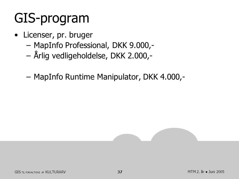 GIS TIL FORVALTNING AF KULTURARVMTM 2. år ● Juni 200537 GIS-program Licenser, pr.