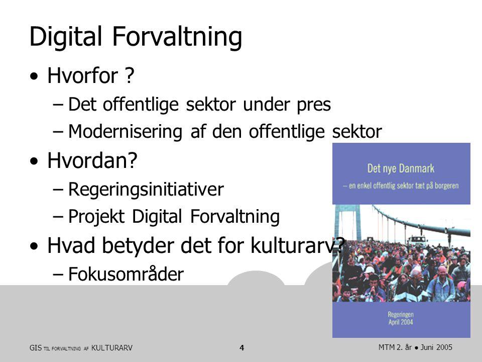 GIS TIL FORVALTNING AF KULTURARVMTM 2. år ● Juni 20054 Digital Forvaltning Hvorfor .