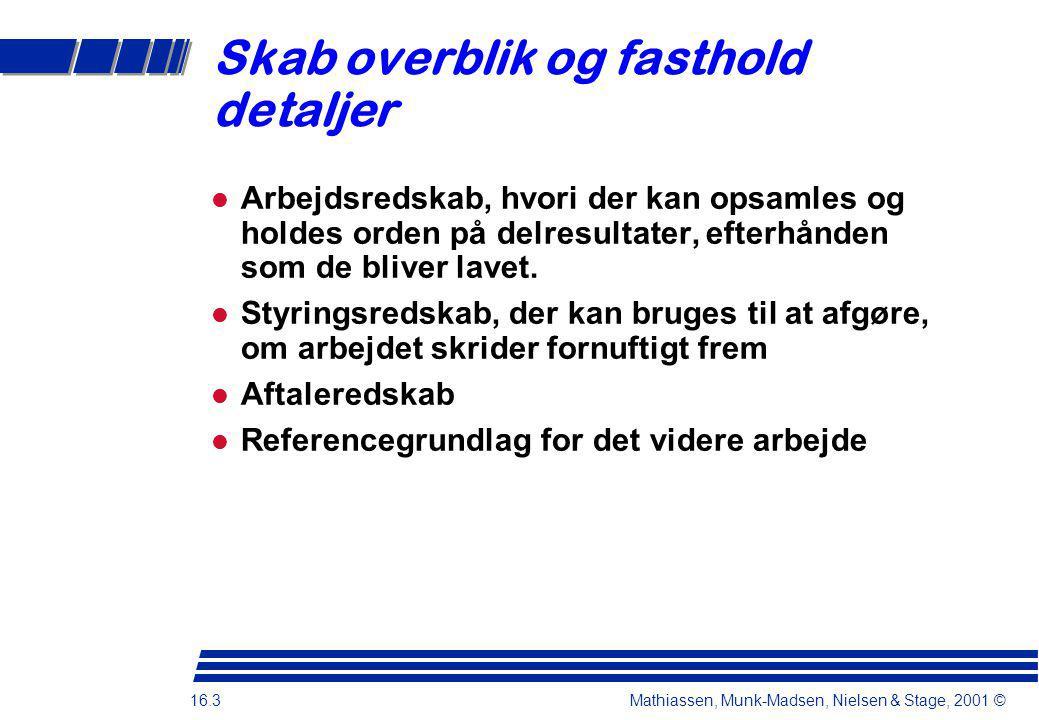 16.3 Mathiassen, Munk-Madsen, Nielsen & Stage, 2001 © Skab overblik og fasthold detaljer Arbejdsredskab, hvori der kan opsamles og holdes orden på delresultater, efterhånden som de bliver lavet.