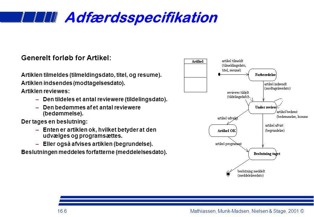 16.6 Mathiassen, Munk-Madsen, Nielsen & Stage, 2001 © Adfærdsspecifikation Generelt forløb for Artikel: Artiklen tilmeldes (tilmeldingsdato, titel, og resume).