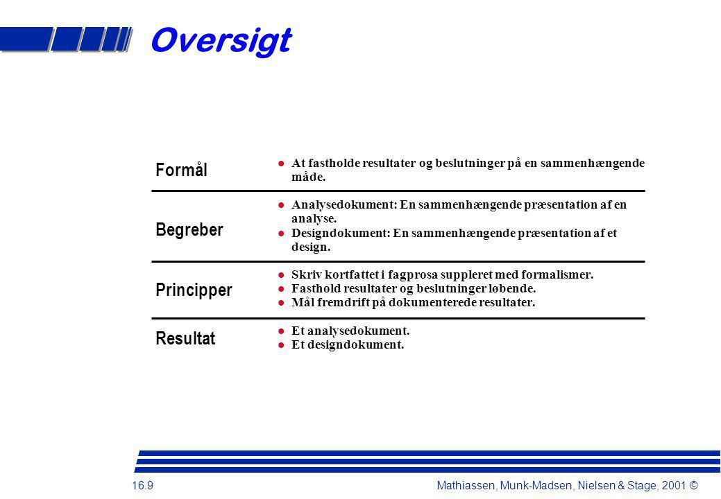 16.9 Mathiassen, Munk-Madsen, Nielsen & Stage, 2001 © Oversigt At fastholde resultater og beslutninger på en sammenhængende måde.
