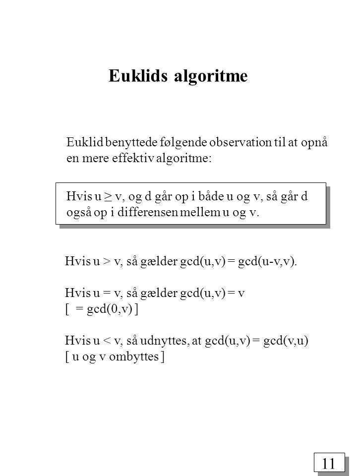 11 Euklids algoritme Euklid benyttede følgende observation til at opnå en mere effektiv algoritme: Hvis u ≥ v, og d går op i både u og v, så går d også op i differensen mellem u og v.