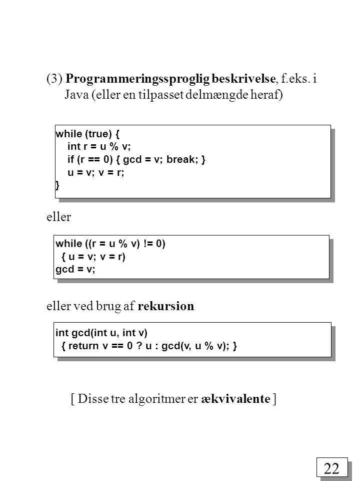 22 (3) Programmeringssproglig beskrivelse, f.eks.