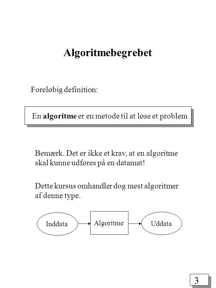 3 Algoritmebegrebet En algoritme er en metode til at løse et problem Bemærk.
