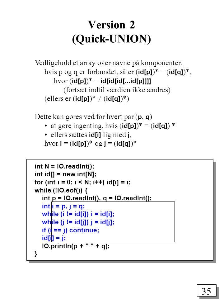 35 int N = IO.readInt(); int id[] = new int[N]; for (int i = 0; i < N; i++) id[i] = i; while (!IO.eof()) { int p = IO.readInt(), q = IO.readInt(); int i = p, j = q; while (i != id[i]) i = id[i]; while (j != id[j]) j = id[j]; if (i == j) continue; id[i] = j; IO.println(p + + q); } Vedligehold et array over navne på komponenter: hvis p og q er forbundet, så er ( id[p] )* = ( id[q] )*, hvor ( id[p] )* = id[id[id[...id[p]]]] (fortsæt indtil værdien ikke ændres) (ellers er ( id[p] )* ≠ ( id[q] )*) Dette kan gøres ved for hvert par ( p, q ) at gøre ingenting, hvis ( id[p] )* = ( id[q] ) * ellers sættes id[i] lig med j, hvor i = ( id[p] )* og j = ( id[q] )* Version 2 (Quick-UNION)