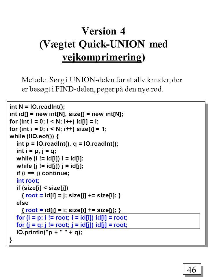 46 int N = IO.readInt(); int id[] = new int[N], size[] = new int[N]; for (int i = 0; i < N; i++) id[i] = i; for (int i = 0; i < N; i++) size[i] = 1; while (!IO.eof()) { int p = IO.readInt(), q = IO.readInt(); int i = p, j = q; while (i != id[i]) i = id[i]; while (j != id[j]) j = id[j]; if (i == j) continue; int root; if (size[i] < size[j]) { root = id[i] = j; size[j] += size[i]; } else { root = id[j] = i; size[i] += size[j]; } for (i = p; i != root; i = id[i]) id[i] = root; for (j = q; j != root; j = id[j]) id[j] = root; IO.println( p + + q); } Version 4 (Vægtet Quick-UNION med vejkomprimering) Metode: Sørg i UNION-delen for at alle knuder, der er besøgt i FIND-delen, peger på den nye rod.