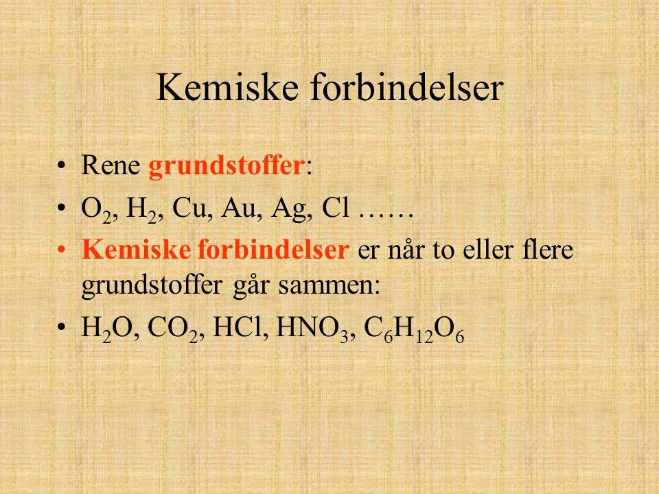 Kemiske forbindelser Rene grundstoffer: O 2, H 2, Cu, Au, Ag, Cl …… Kemiske forbindelser er når to eller flere grundstoffer går sammen: H 2 O, CO 2, H
