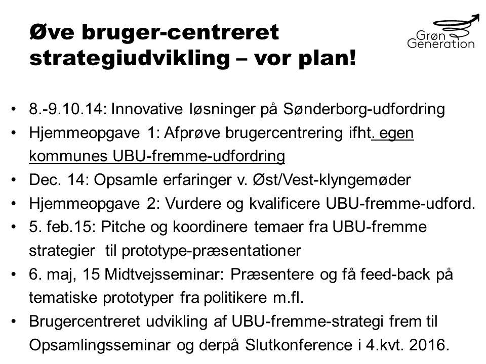 Øve bruger-centreret strategiudvikling – vor plan.