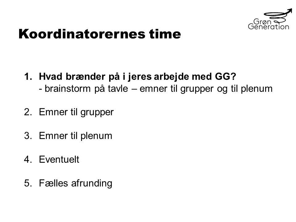 Koordinatorernes time 1.Hvad brænder på i jeres arbejde med GG.