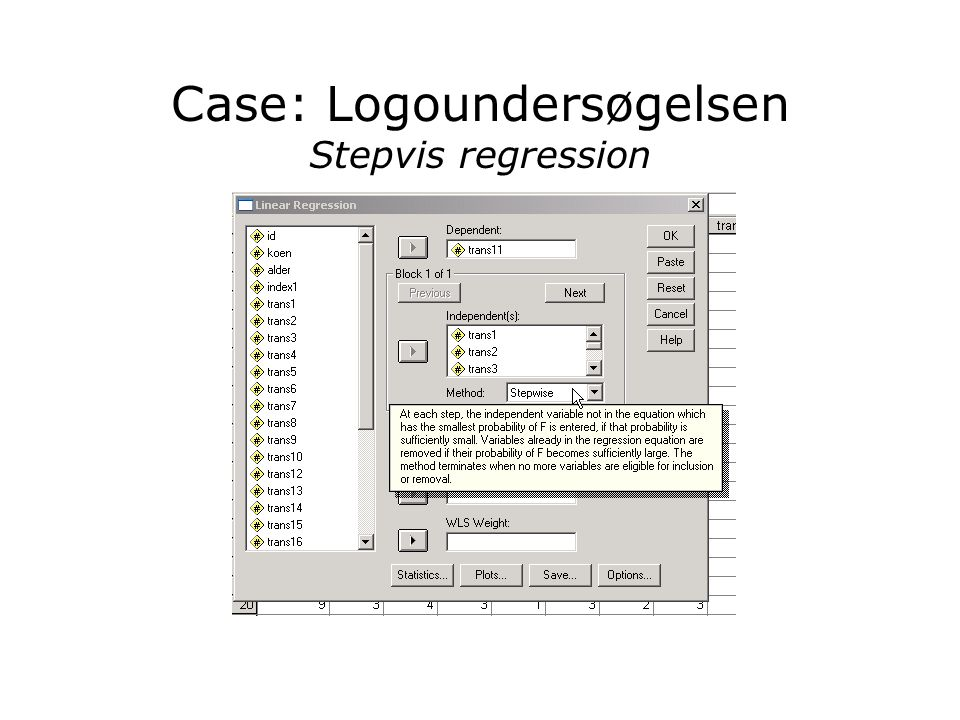 Case: Logoundersøgelsen Stepvis regression