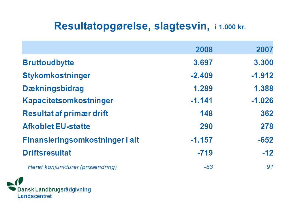 Dansk Landbrugsrådgivning Landscentret Resultatopgørelse, slagtesvin, i 1.000 kr.