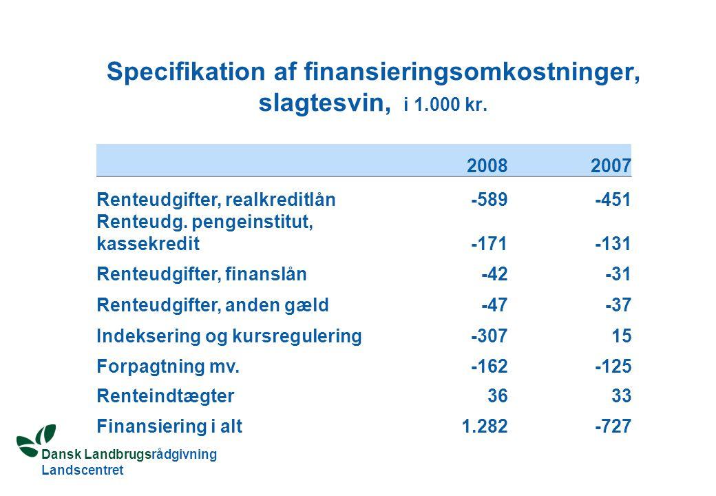 Dansk Landbrugsrådgivning Landscentret Specifikation af finansieringsomkostninger, slagtesvin, i 1.000 kr.